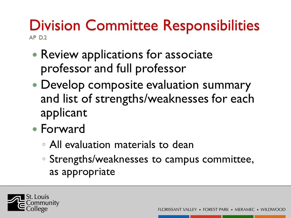 Division Committee Responsibilities AP D.2 Review applications for associate professor and full professor Develop composite evaluation summary and list of strengths/weaknesses for each applicant Forward All evaluation materials to dean Strengths/weaknesses to campus committee, as appropriate