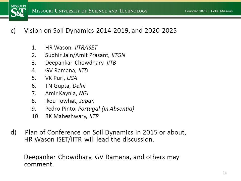 c)Vision on Soil Dynamics 2014-2019, and 2020-2025 1.HR Wason, IITR/ISET 2.Sudhir Jain/Amit Prasant, IITGN 3.Deepankar Chowdhary, IITB 4.GV Ramana, IITD 5.VK Puri, USA 6.TN Gupta, Delhi 7.Amir Kaynia, NGI 8.Ikou Towhat, Japan 9.Pedro Pinto, Portugal (In Absentia) 10.BK Maheshwary, IITR d) Plan of Conference on Soil Dynamics in 2015 or about, HR Wason ISET/IITR will lead the discussion.