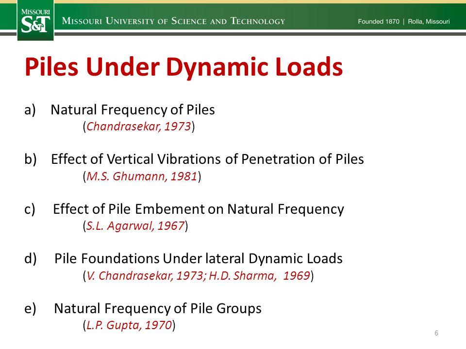 a)Natural Frequency of Piles (Chandrasekar, 1973) b) Effect of Vertical Vibrations of Penetration of Piles (M.S.