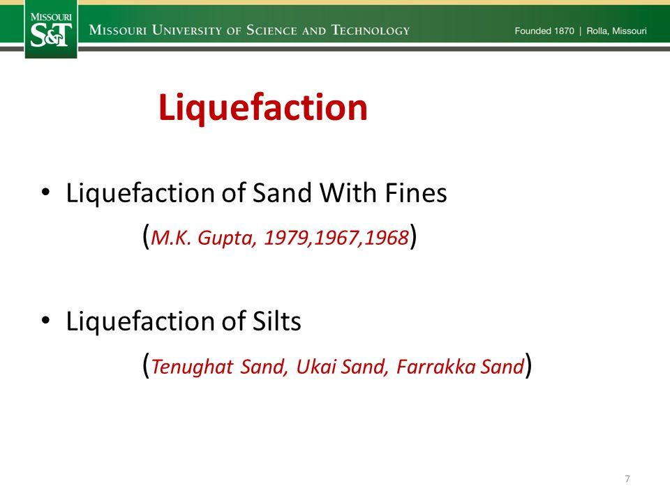 Liquefaction of Sand With Fines ( M.K. Gupta, 1979,1967,1968 ) Liquefaction of Silts ( Tenughat Sand, Ukai Sand, Farrakka Sand ) Liquefaction 7