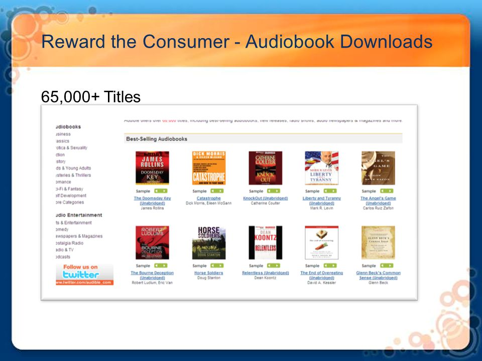 Reward the Consumer - Audiobook Downloads 65,000+ Titles
