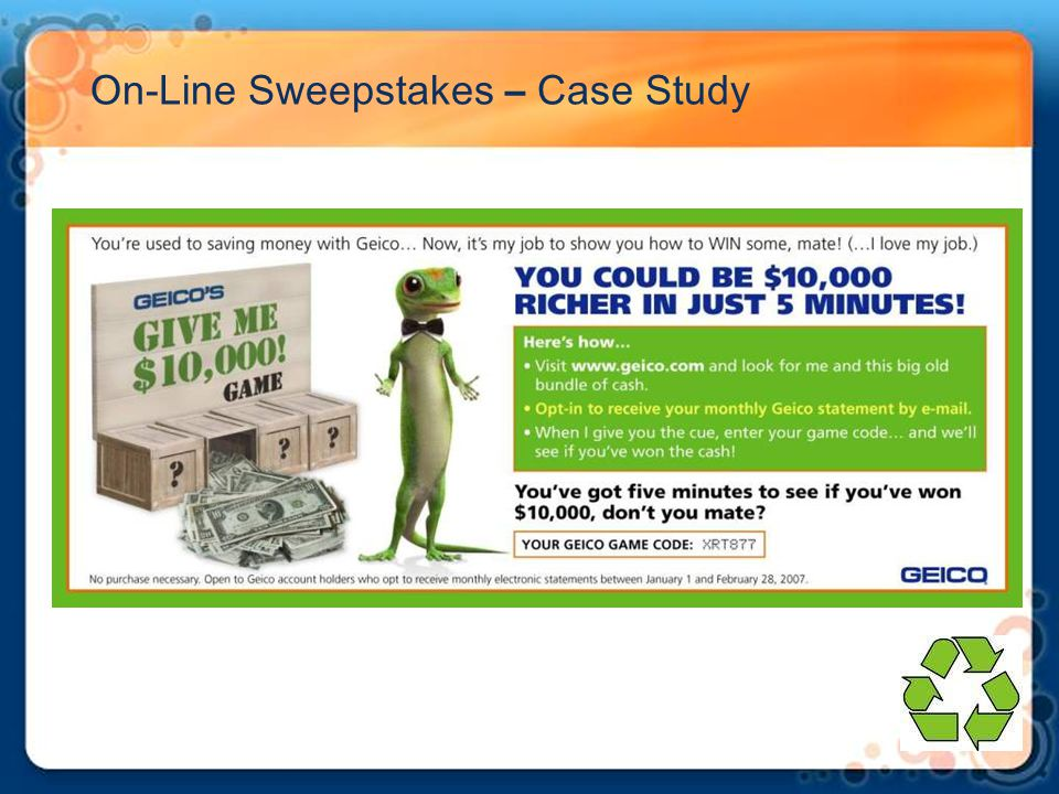 On-Line Sweepstakes – Case Study