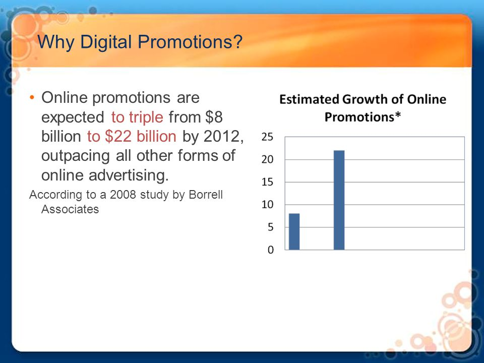 Why Digital Promotions? Online promotions are expected to triple from $8 billion to $22 billion by 2012, outpacing all other forms of online advertisi