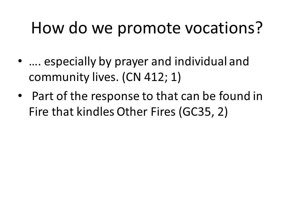 How do we promote vocations. …. especially by prayer and individual and community lives.