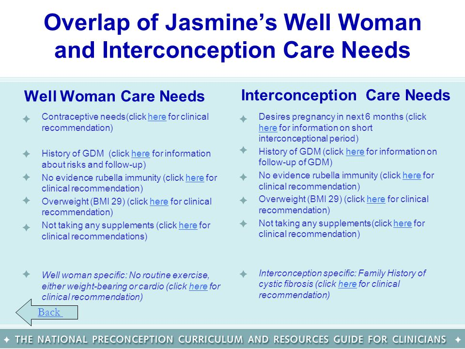 Overlap of Jasmines Well Woman and Interconception Care Needs Well Woman Care Needs Contraceptive needs(click here for clinical recommendation)here Hi