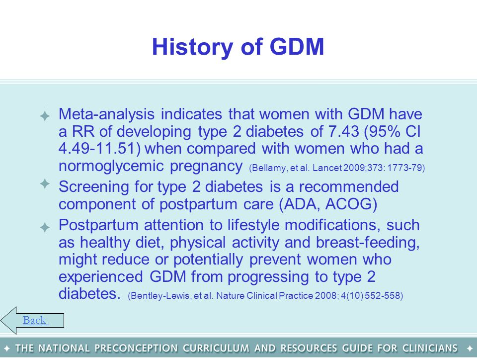 History of GDM Meta-analysis indicates that women with GDM have a RR of developing type 2 diabetes of 7.43 (95% CI 4.49-11.51) when compared with wome