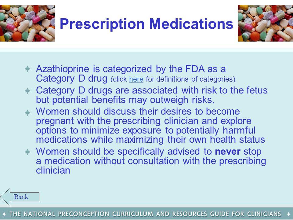Prescription Medications Azathioprine is categorized by the FDA as a Category D drug (click here for definitions of categories)here Category D drugs a