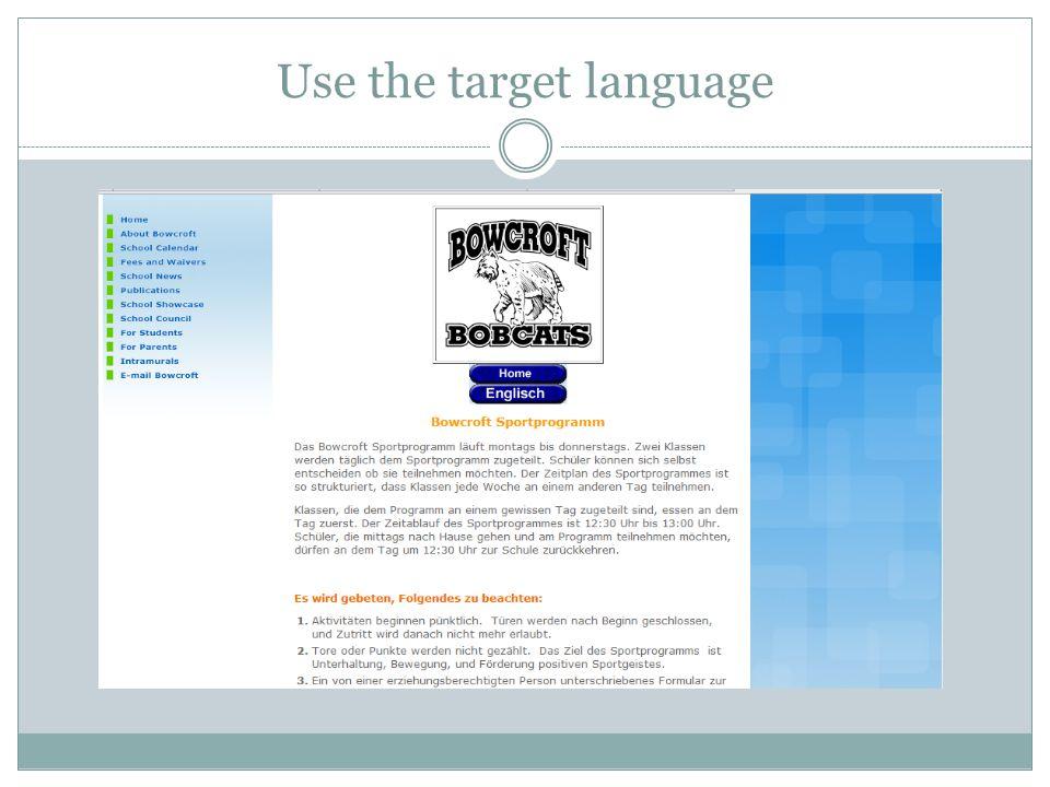 Use the target language
