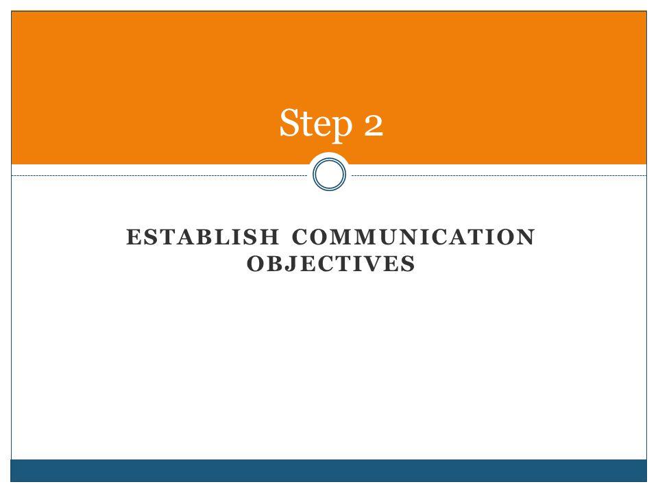 ESTABLISH COMMUNICATION OBJECTIVES Step 2