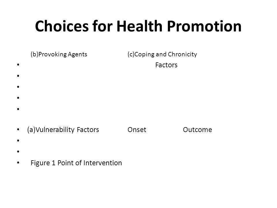 Choices for Health Promotion Biological -----------------------eg vulnerability factors Psychological ------------------eg provoking agents Social Psychological ----------eg coping strategies Social ---------------------------eg caring arrangements Political or Policy ------------eg barrier dismantling