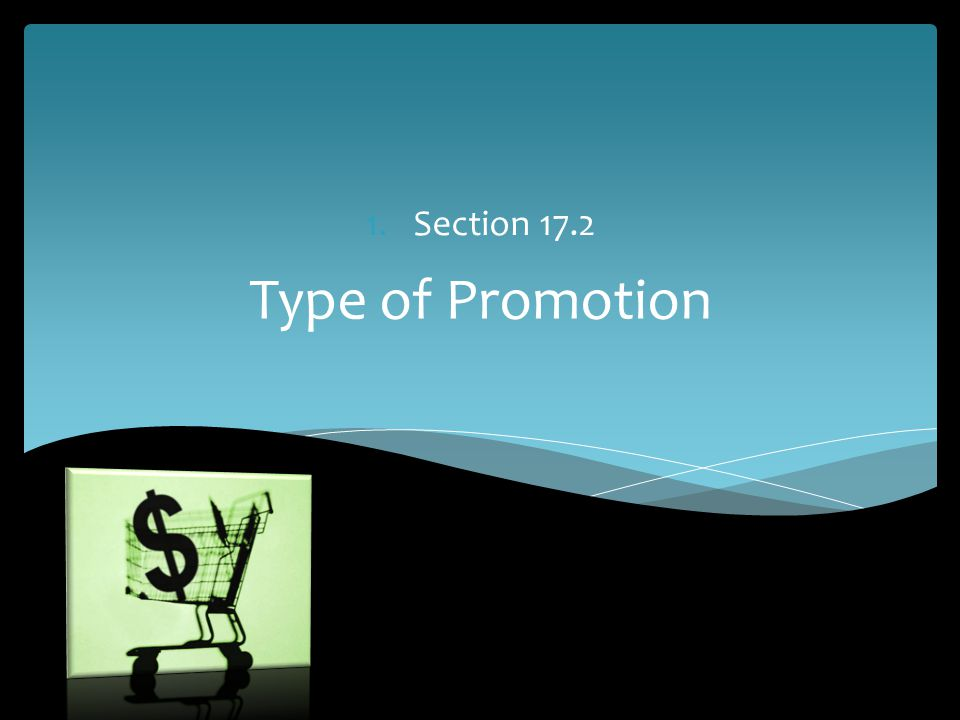 Type of Promotion 1.Section 17.2