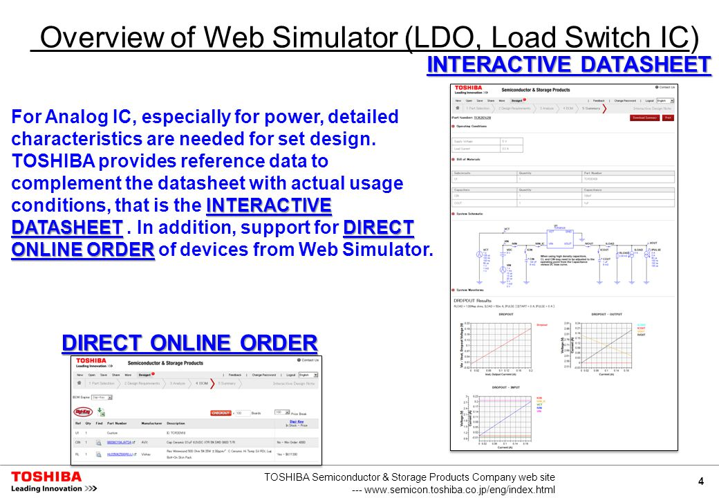 4 TOSHIBA Semiconductor & Storage Products Company web site --- www.semicon.toshiba.co.jp/eng/index.html Overview of Web Simulator (LDO, Load Switch IC) INTERACTIVE DATASHEETDIRECT ONLINE ORDER For Analog IC, especially for power, detailed characteristics are needed for set design.