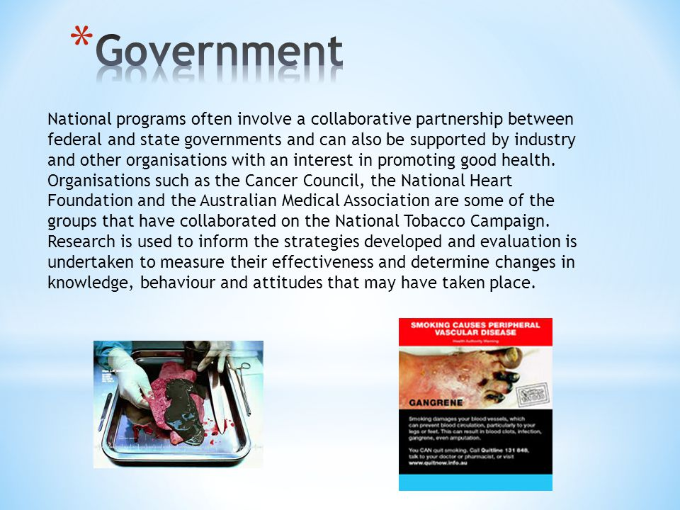 National programs often involve a collaborative partnership between federal and state governments and can also be supported by industry and other organisations with an interest in promoting good health.