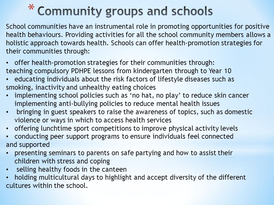 School communities have an instrumental role in promoting opportunities for positive health behaviours.