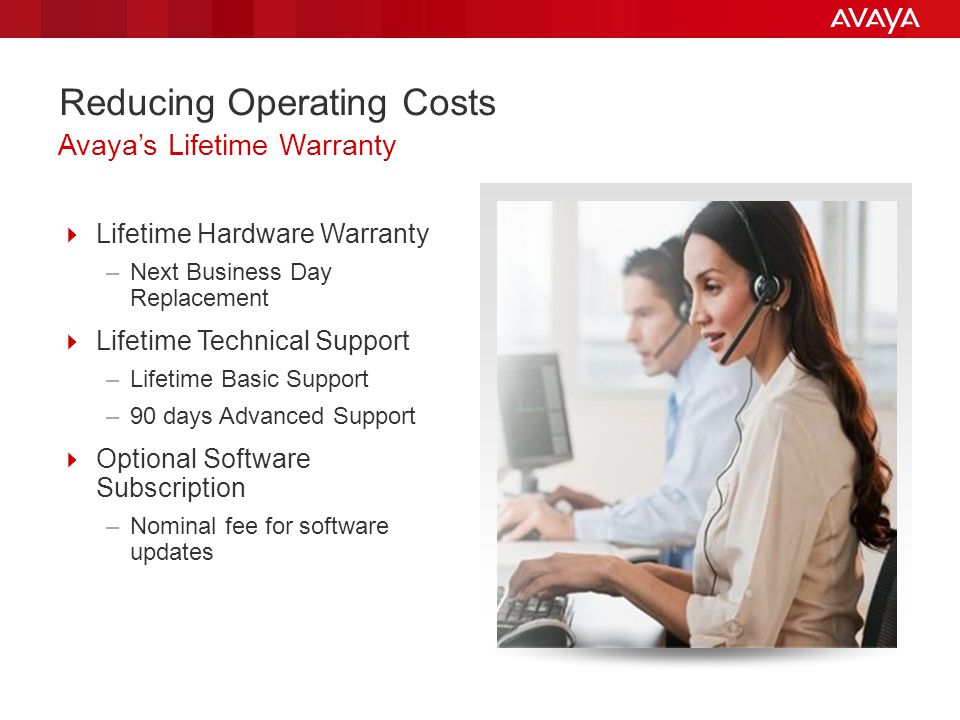 Reducing Operating Costs Lifetime Hardware Warranty –Next Business Day Replacement Lifetime Technical Support –Lifetime Basic Support –90 days Advance