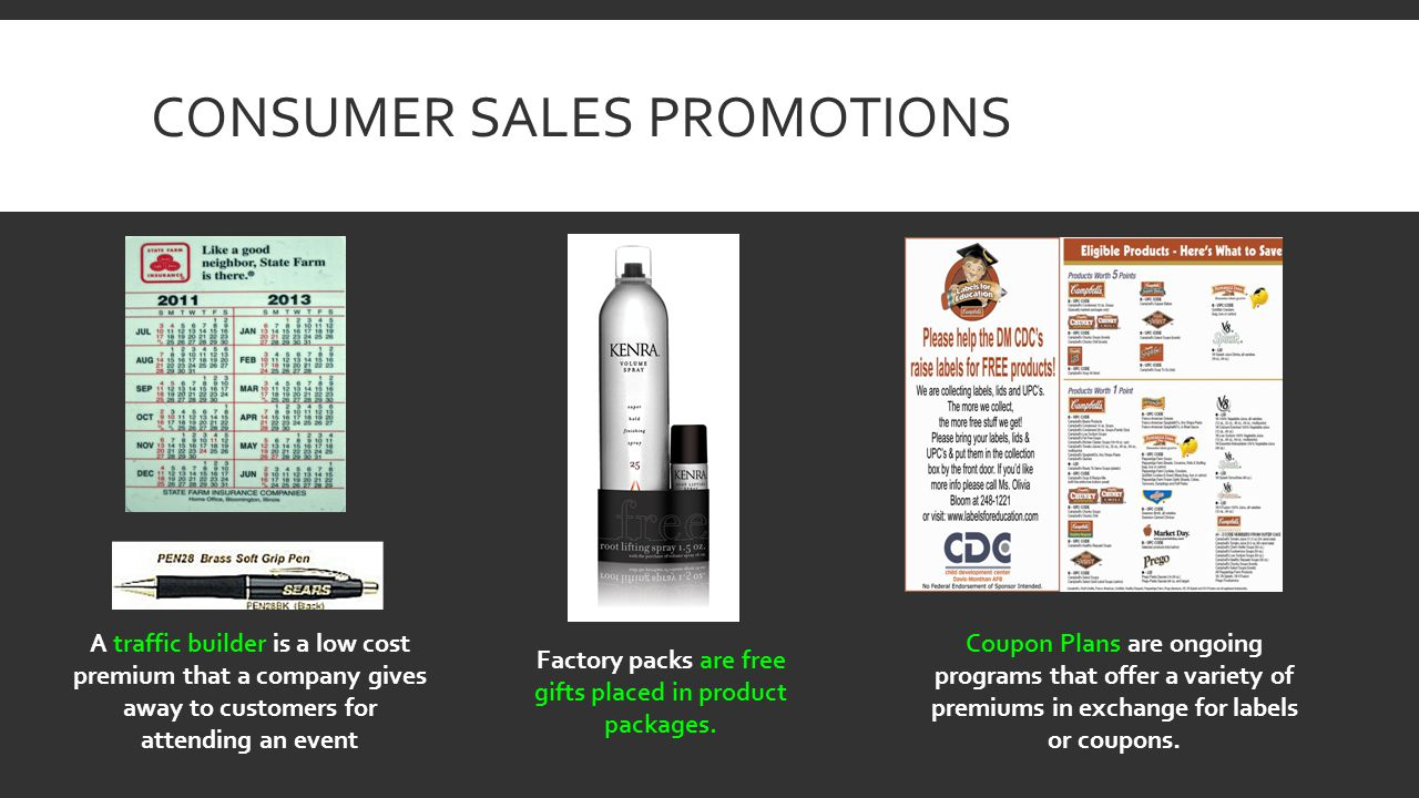 CONSUMER SALES PROMOTIONS A traffic builder is a low cost premium that a company gives away to customers for attending an event Factory packs are free