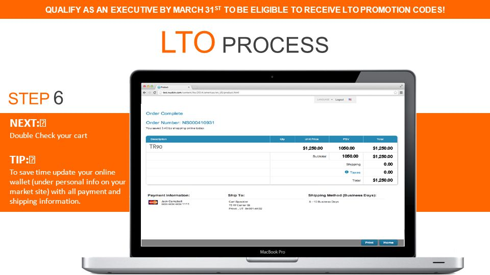QUALIFY AS AN EXECUTIVE BY MARCH 31 ST TO BE ELIGIBLE TO RECEIVE LTO PROMOTION CODES.