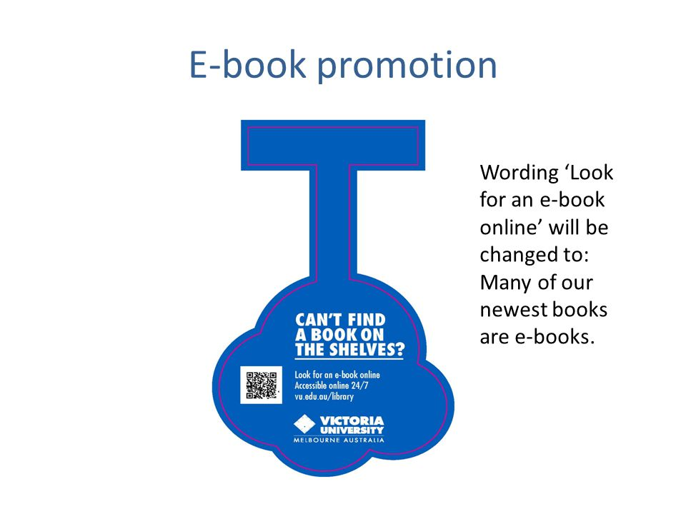 E-book promotion Wording Look for an e-book online will be changed to: Many of our newest books are e-books.