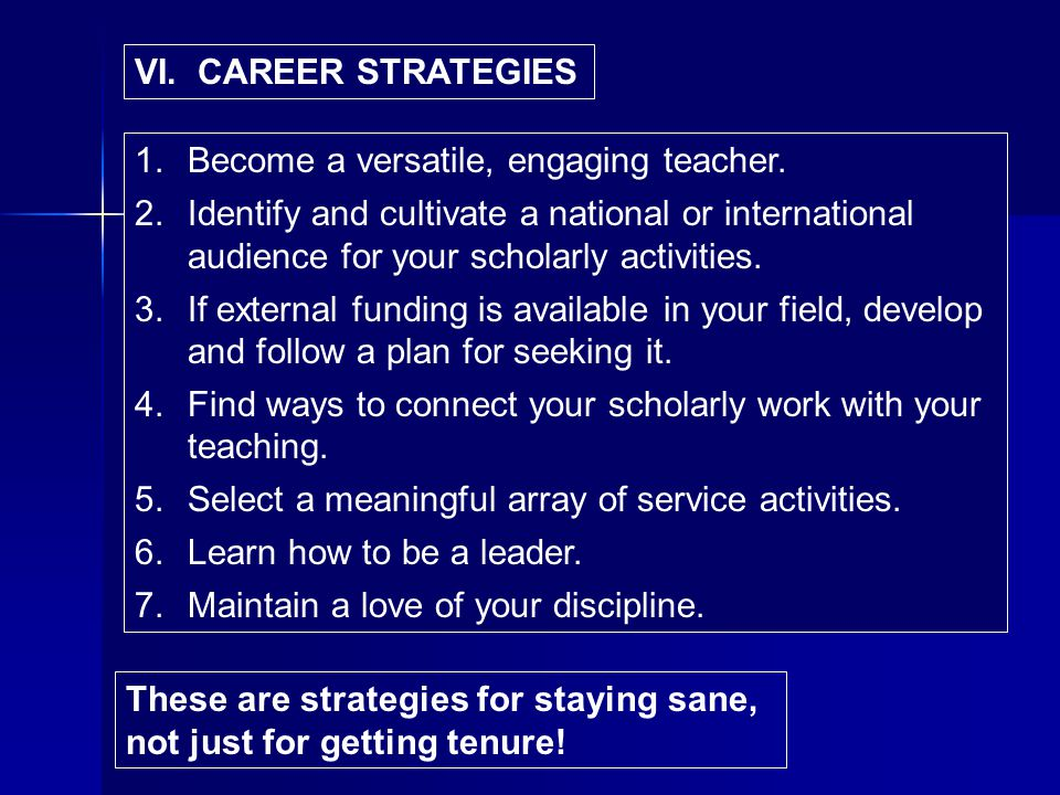VI. CAREER STRATEGIES 1.Become a versatile, engaging teacher.