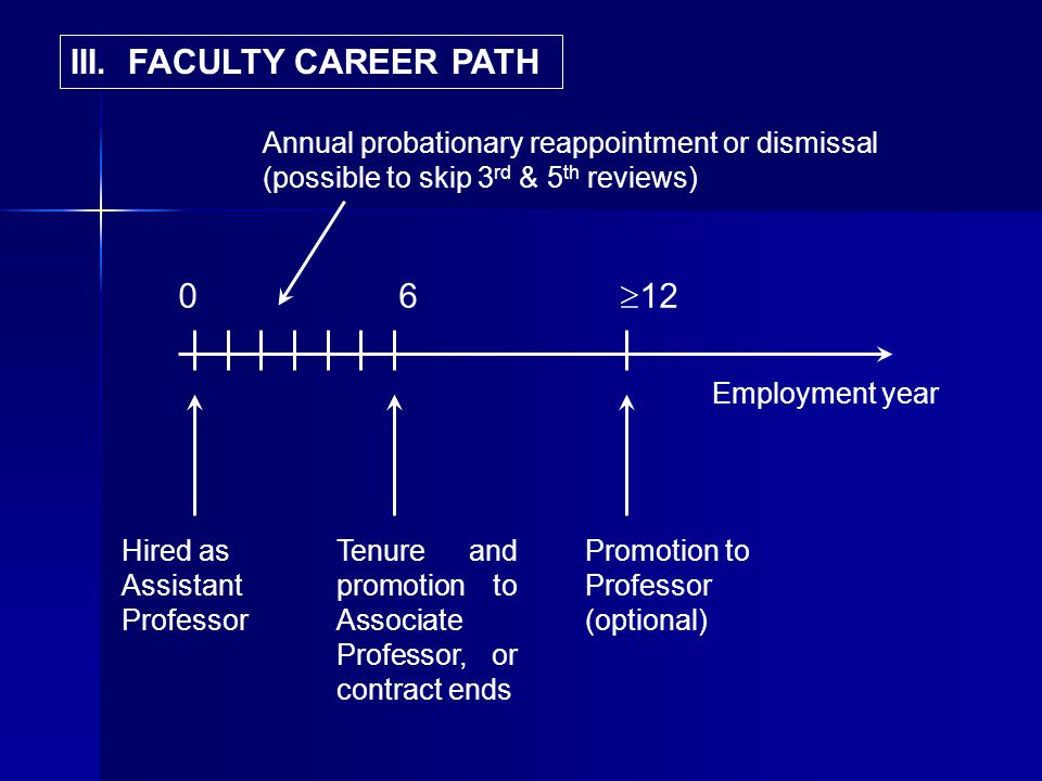 0 6 12 Employment year Hired as Assistant Professor Annual probationary reappointment or dismissal (possible to skip 3 rd & 5 th reviews) Tenure and promotion to Associate Professor, or contract ends Promotion to Professor (optional) III.