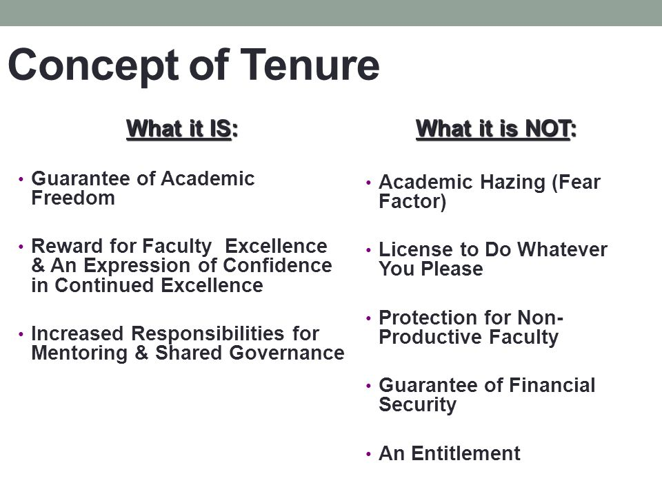 Concept of Tenure What it IS: Guarantee of Academic Freedom Reward for Faculty Excellence & An Expression of Confidence in Continued Excellence Increased Responsibilities for Mentoring & Shared Governance What it is NOT: Academic Hazing (Fear Factor) License to Do Whatever You Please Protection for Non- Productive Faculty Guarantee of Financial Security An Entitlement