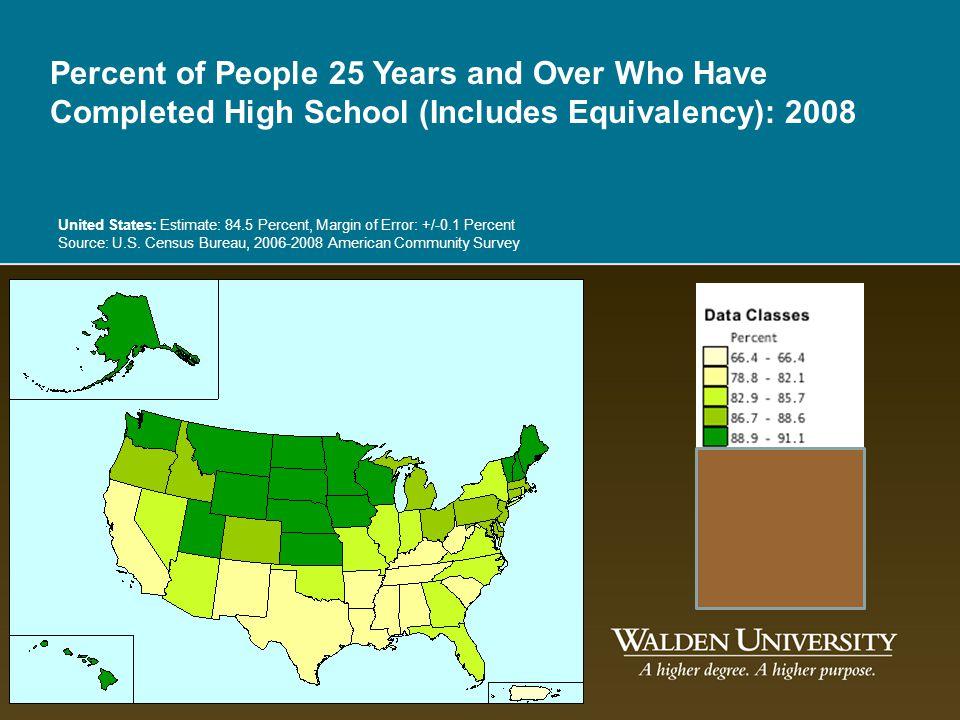 United States: Estimate: 84.5 Percent, Margin of Error: +/-0.1 Percent Source: U.S. Census Bureau, 2006-2008 American Community Survey Percent of Peop