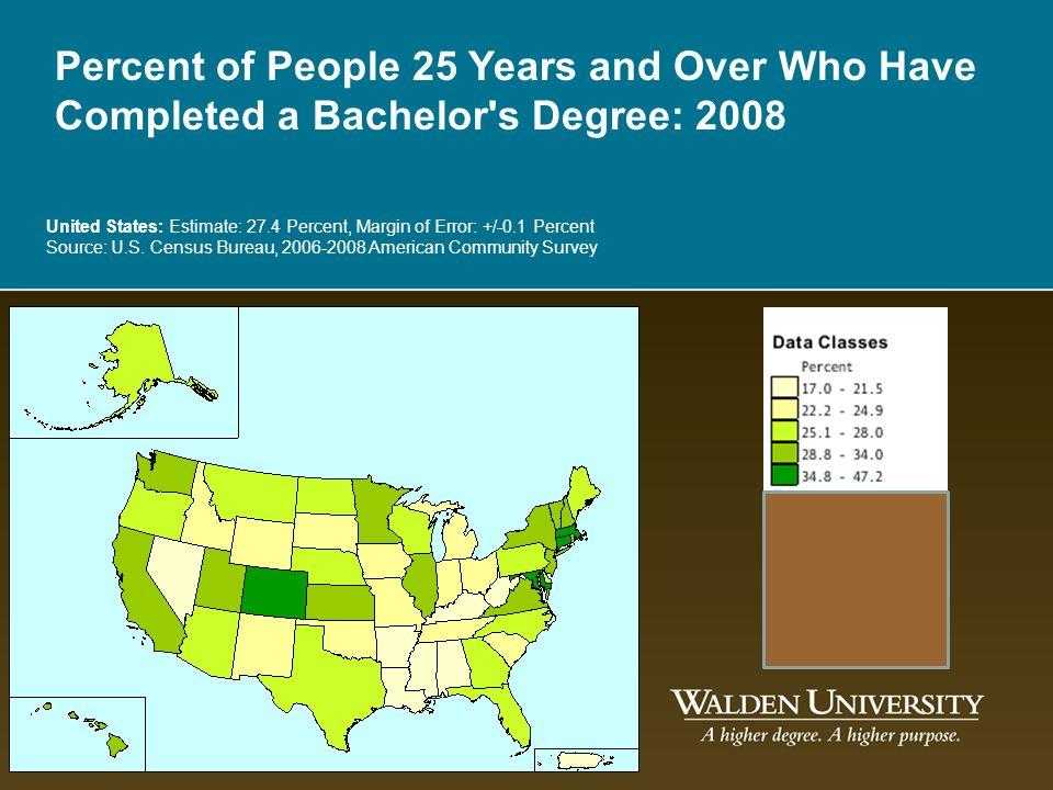 United States: Estimate: 27.4 Percent, Margin of Error: +/-0.1 Percent Source: U.S. Census Bureau, 2006-2008 American Community Survey Percent of Peop