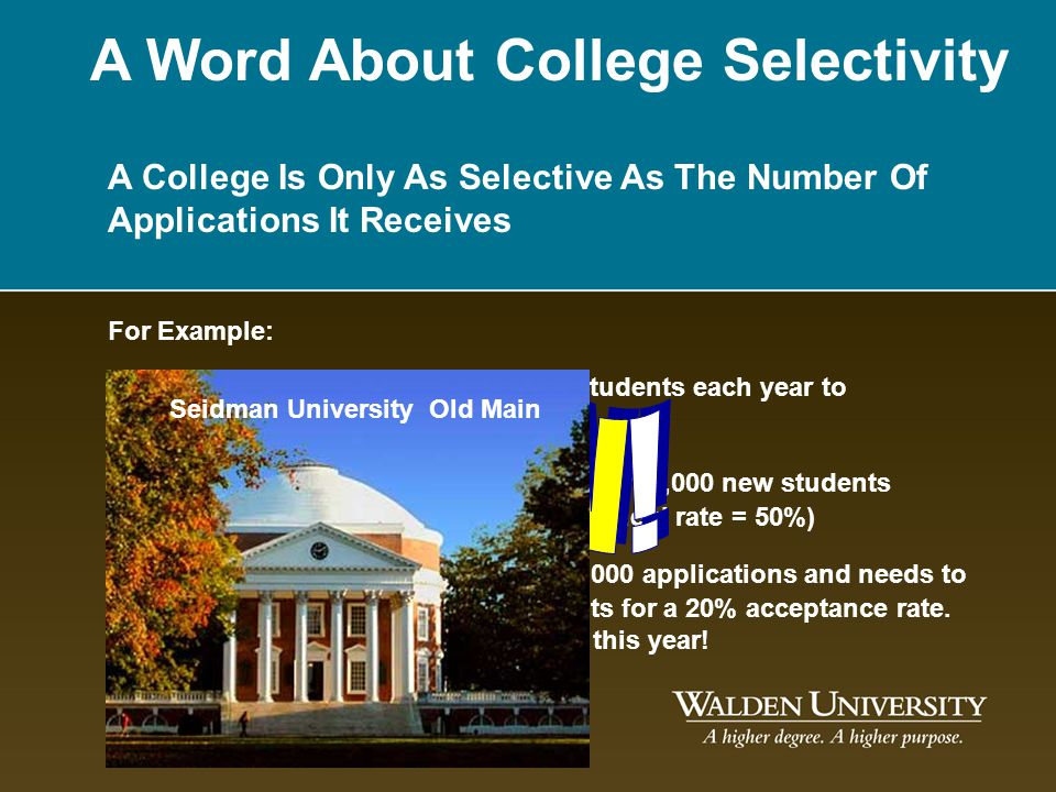 A Word About College Selectivity A College Is Only As Selective As The Number Of Applications It Receives For Example: Seidman University needs 1,000