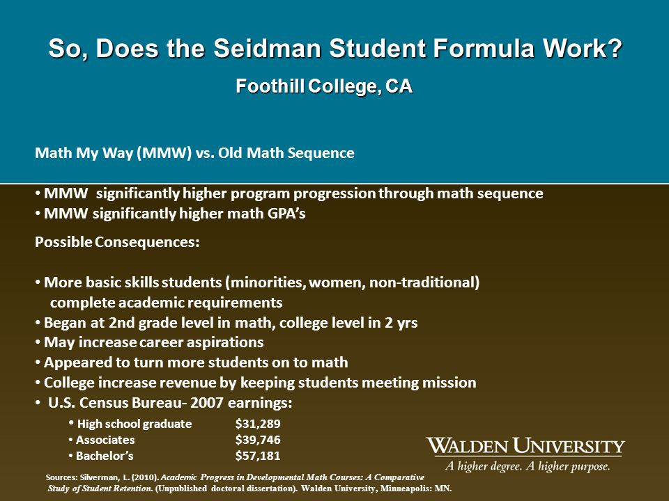 So, Does the Seidman Student Formula Work? Foothill College, CA Math My Way (MMW) vs. Old Math Sequence MMW significantly higher program progression t
