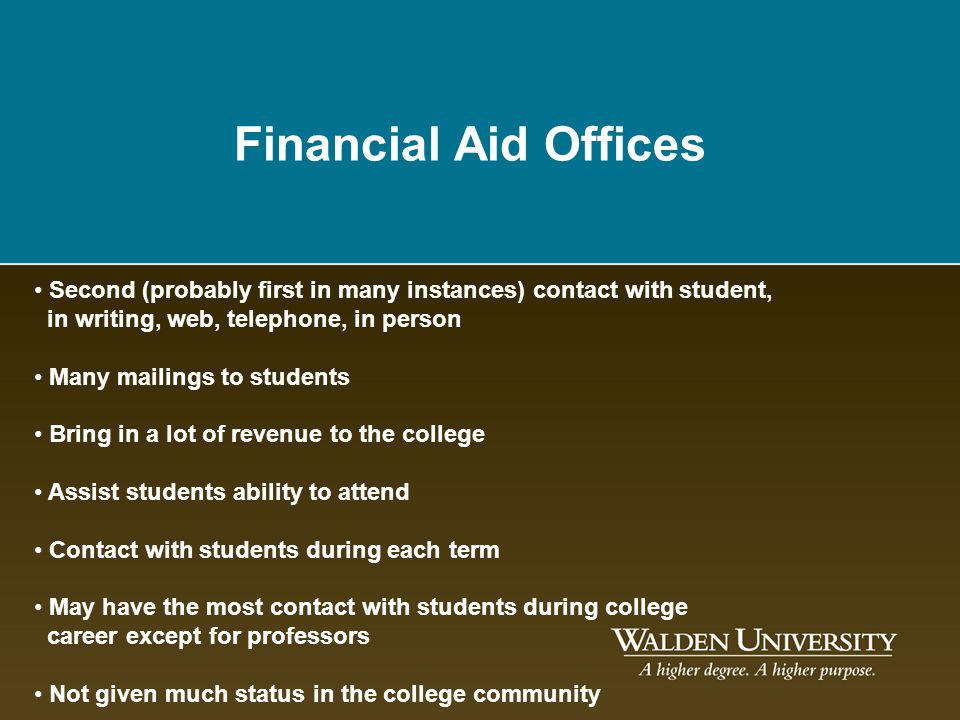 Financial Aid Offices Second (probably first in many instances) contact with student, in writing, web, telephone, in person Many mailings to students