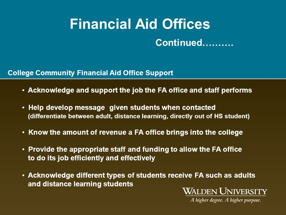 Financial Aid Offices Continued………. College Community Financial Aid Office Support Acknowledge and support the job the FA office and staff performs He