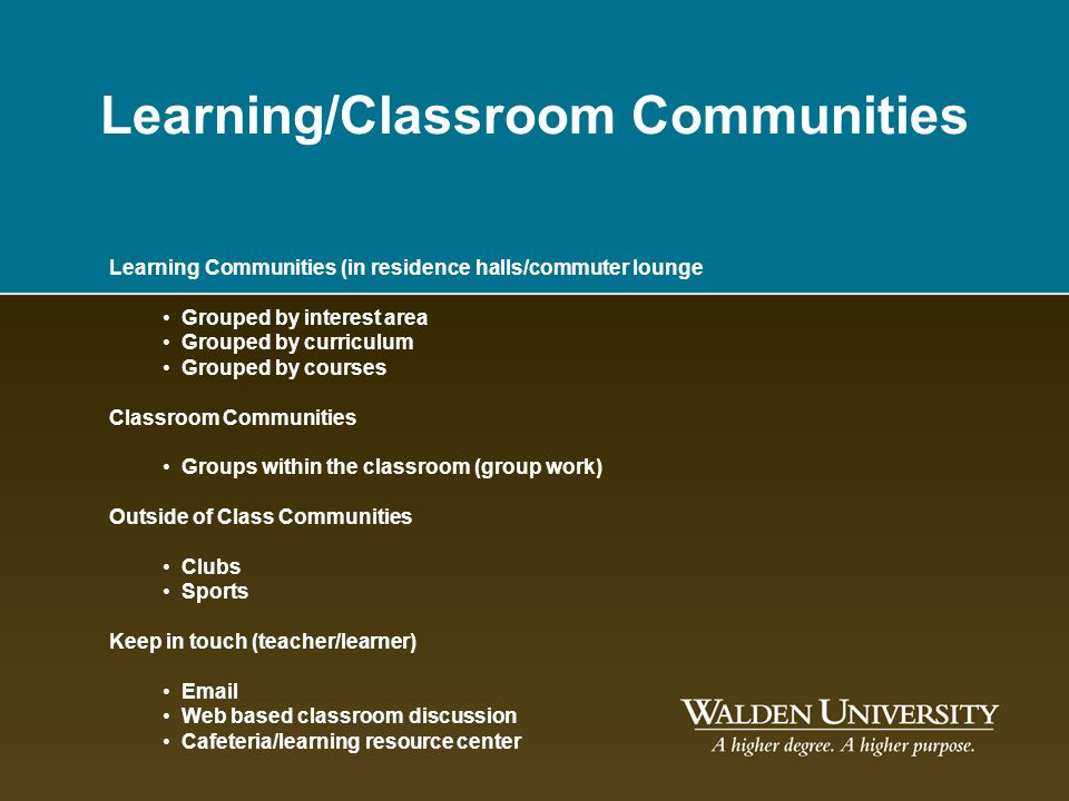 Learning/Classroom Communities Learning Communities (in residence halls/commuter lounge Grouped by interest area Grouped by curriculum Grouped by cour
