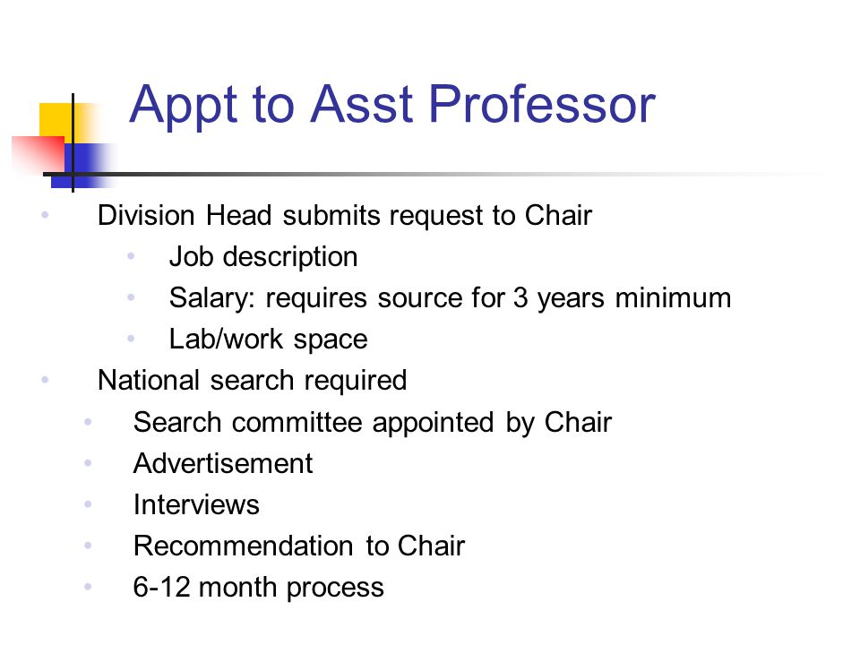 Appt to Asst Professor Division Head submits request to Chair Job description Salary: requires source for 3 years minimum Lab/work space National search required Search committee appointed by Chair Advertisement Interviews Recommendation to Chair 6-12 month process
