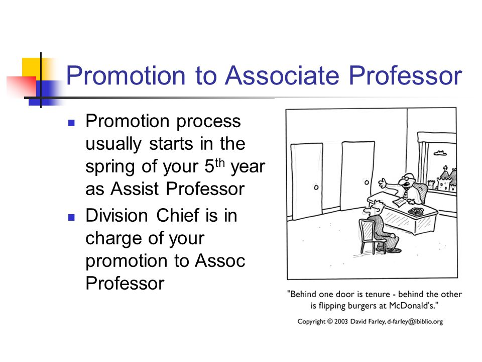 Promotion to Associate Professor Promotion process usually starts in the spring of your 5 th year as Assist Professor Division Chief is in charge of your promotion to Assoc Professor