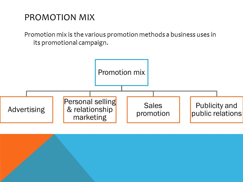 PROMOTION MIX Promotion mix is the various promotion methods a business uses in its promotional campaign.