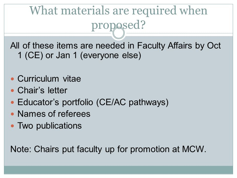 What materials are required when proposed.