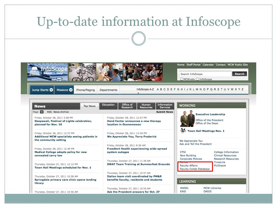 Up-to-date information at Infoscope
