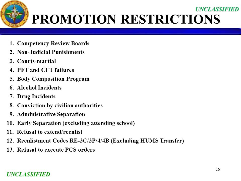 UNCLASSIFIED 19 PROMOTION RESTRICTIONS 1. Competency Review Boards 2. Non-Judicial Punishments 3. Courts-martial 4. PFT and CFT failures 5. Body Compo