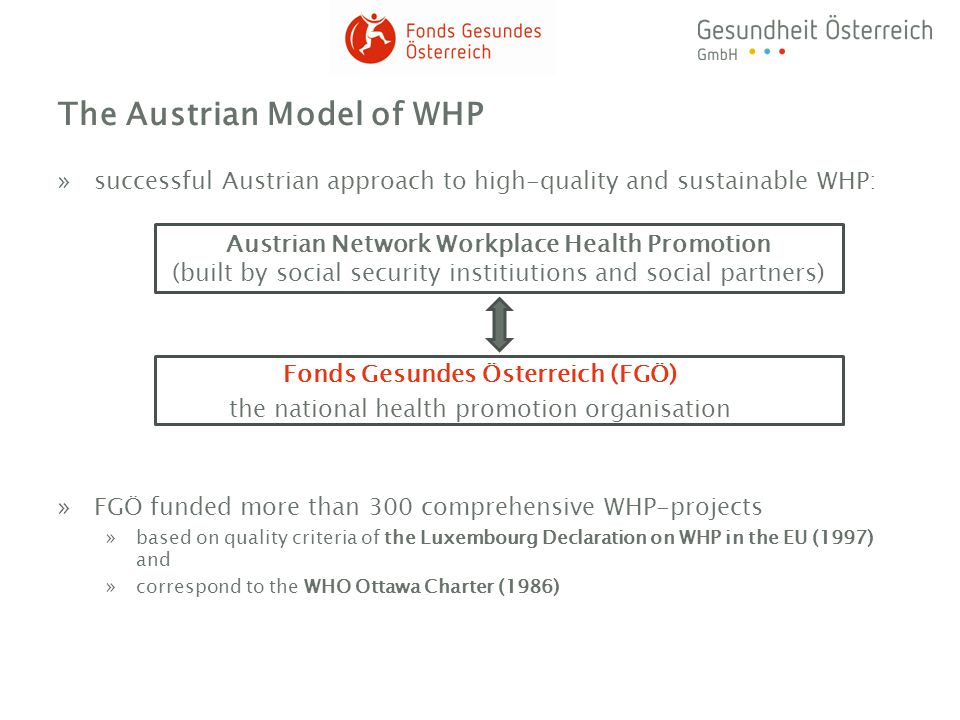 Services and activities of the Austrian network WHP »consultancy and support of companies regarding implementation of WHP by regional offices and service centres »individual services, e.g.