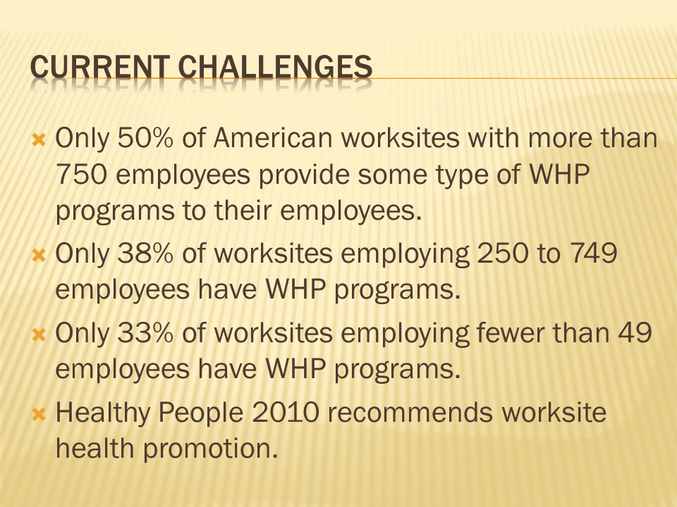 Only 50% of American worksites with more than 750 employees provide some type of WHP programs to their employees. Only 38% of worksites employing 250