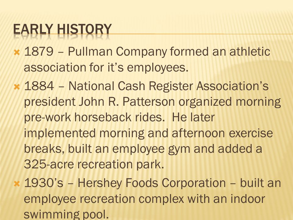 1879 – Pullman Company formed an athletic association for its employees. 1884 – National Cash Register Associations president John R. Patterson organi
