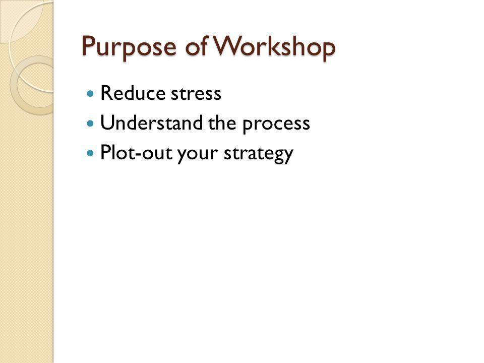 Purpose of Workshop Reduce stress Understand the process Plot-out your strategy