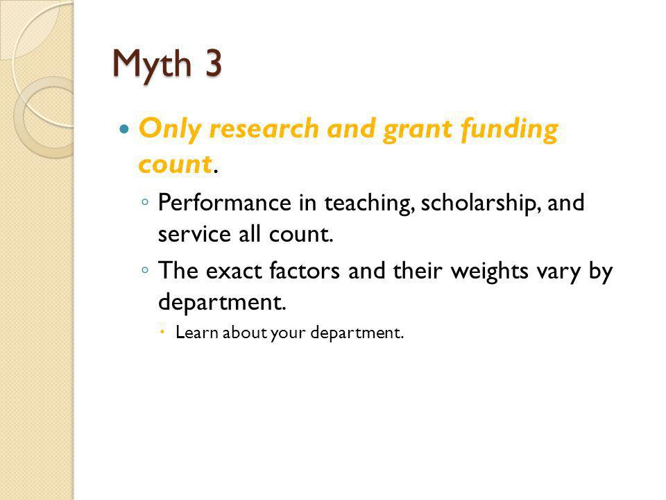 Myth 3 Only research and grant funding count.