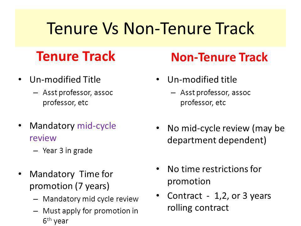 Tenure Vs Non-Tenure Track Tenure Track Un-modified Title – Asst professor, assoc professor, etc Mandatory mid-cycle review – Year 3 in grade Mandator