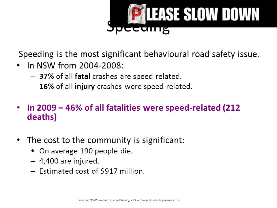 Speeding Speeding is the most significant behavioural road safety issue. In NSW from 2004-2008: – 37% of all fatal crashes are speed related. – 16% of