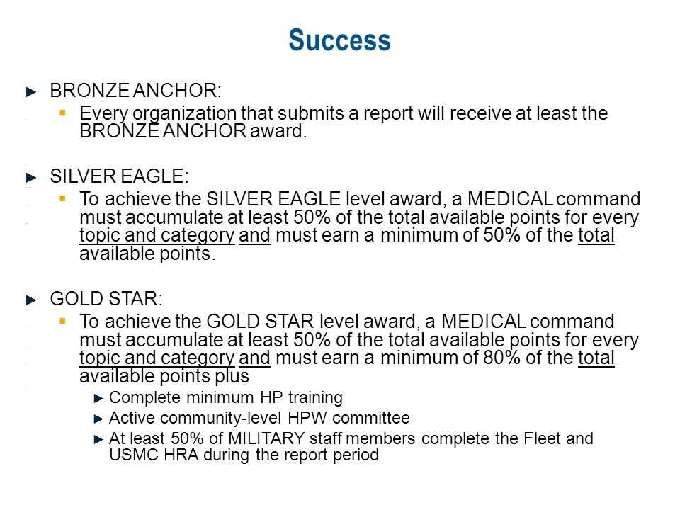 Success BRONZE ANCHOR: BRONZE ANCHOR: Every organization that submits a report will receive at least the BRONZE ANCHOR award. Every organization that
