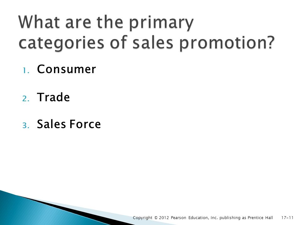 1. Consumer 2. Trade 3. Sales Force Copyright © 2012 Pearson Education, Inc. publishing as Prentice Hall17-11