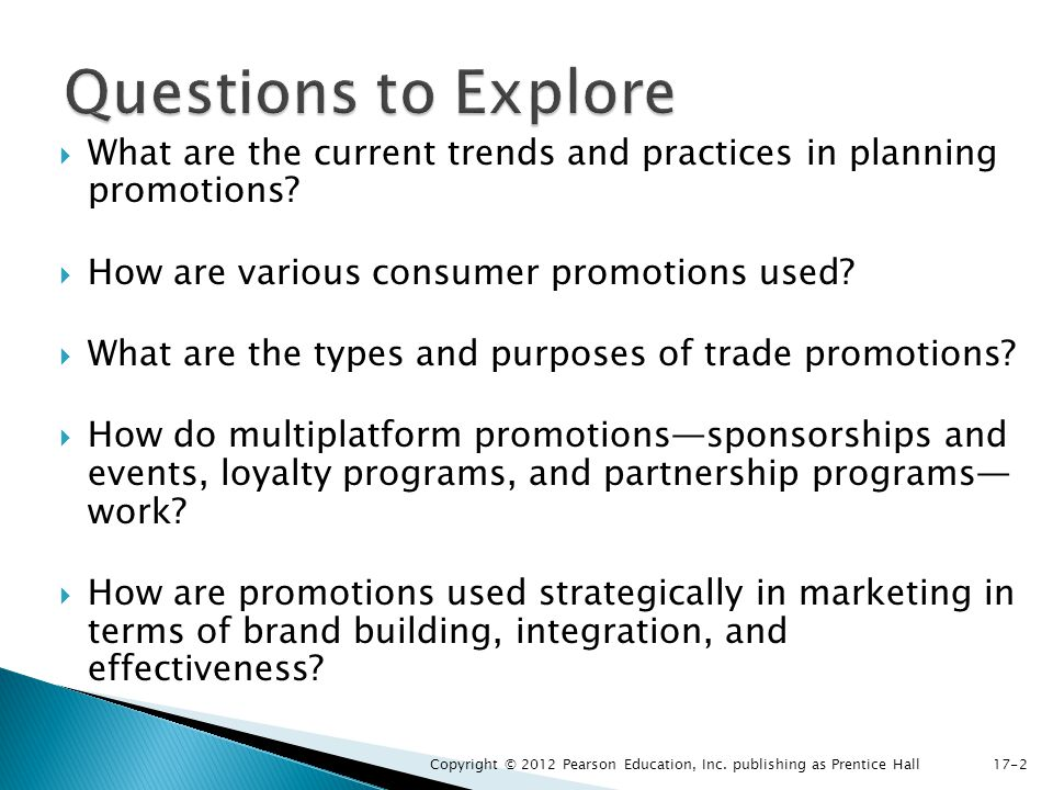 What are the current trends and practices in planning promotions? How are various consumer promotions used? What are the types and purposes of trade p