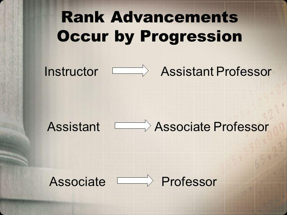 Rank Advancements Occur by Progression Instructor Assistant Professor Assistant Associate Professor Associate Professor