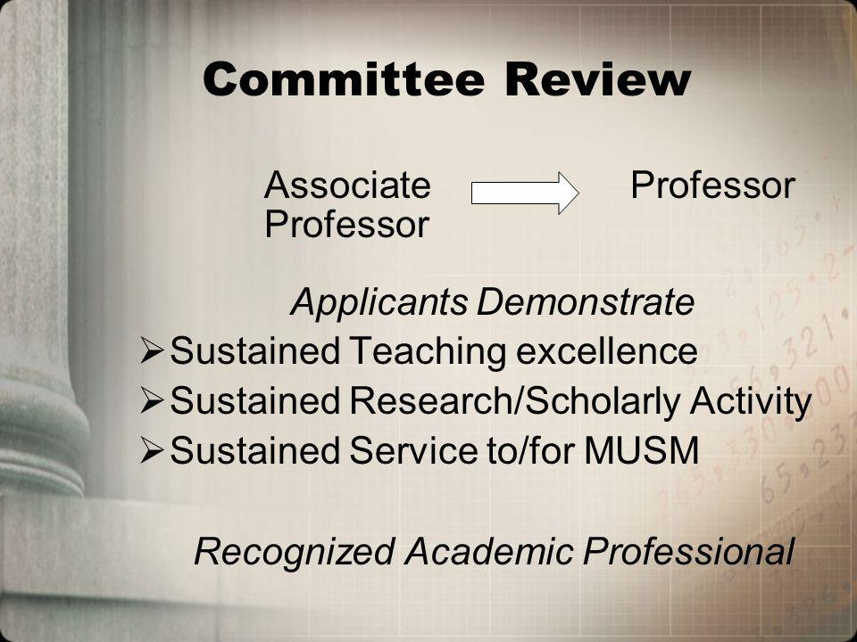 Committee Review Associate Professor Professor Applicants Demonstrate Sustained Teaching excellence Sustained Research/Scholarly Activity Sustained Service to/for MUSM Recognized Academic Professional